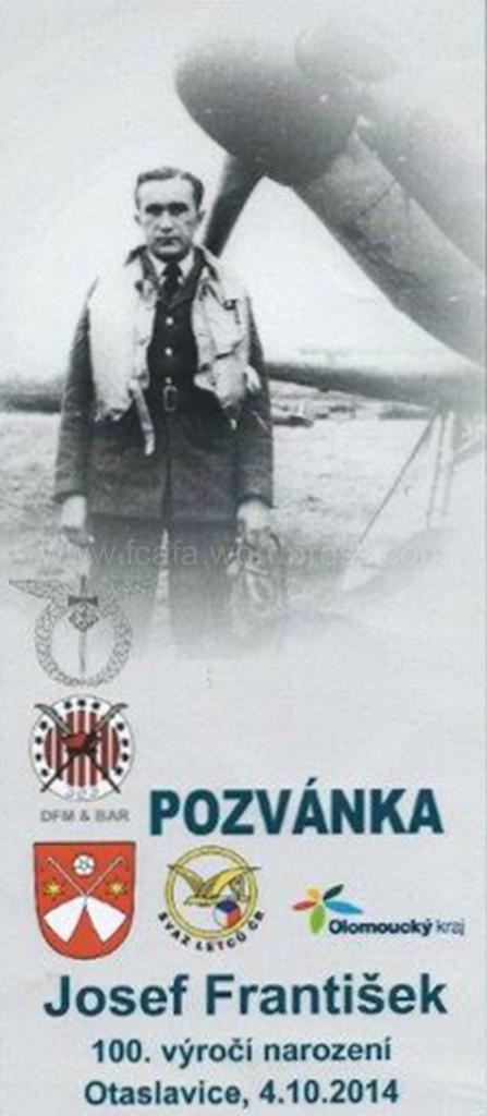 Pozvánka - Josef František Otaslavice - 100 let
