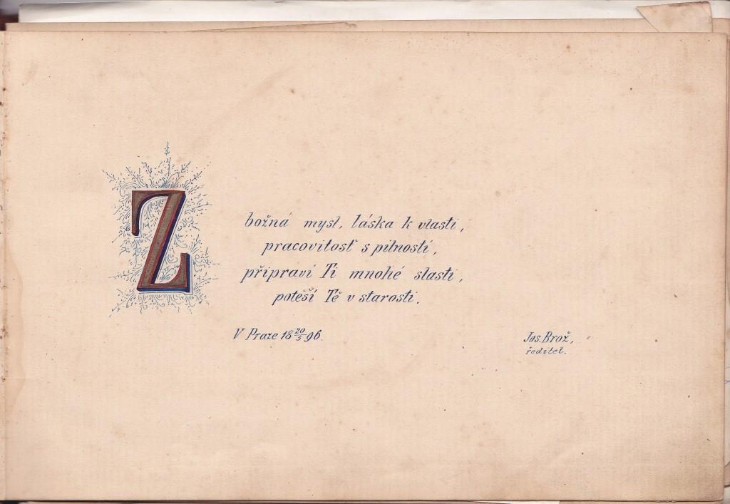 Scan listu památníku