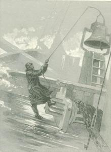 Mlhová signalizace na LS-1 byla zajišťována s pomocí půltunového zvonu. Century Magazine, 1891.