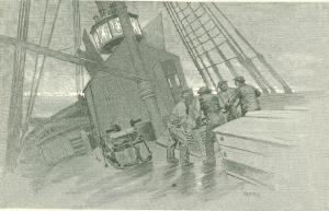 Vytahování majáku na stěžeň LS-1. Dobová ilustrace, Century Magazine 1891.