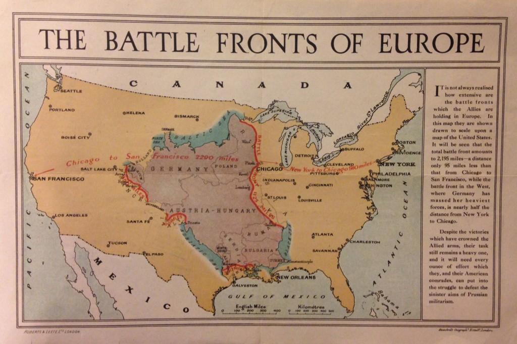 Mapa front první světové války - Stanford's Geographical Establishment (1917)