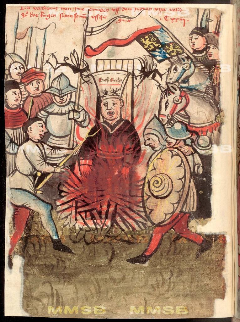 Richentalova kronika rok cca 1464 - Zajetí a upáleni Jana Husa