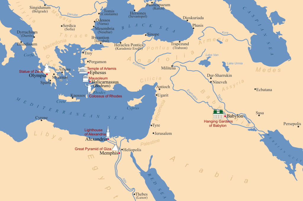 sedm divů světa (mapa)