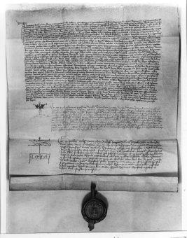 Dekret kutnohorský, vyhotovení z roku 1414 pro Jana Husa, foto: Wikipedia