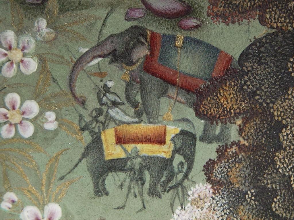 Detail miniatury A12182 s vyobrazením sultánových slonů Atíše Chána a Čančaly