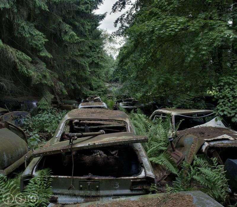 Hřbitov aut v Belgii