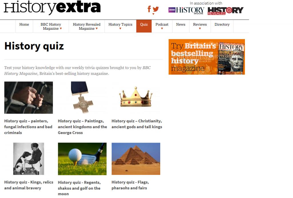 Historyextra.com kvízy