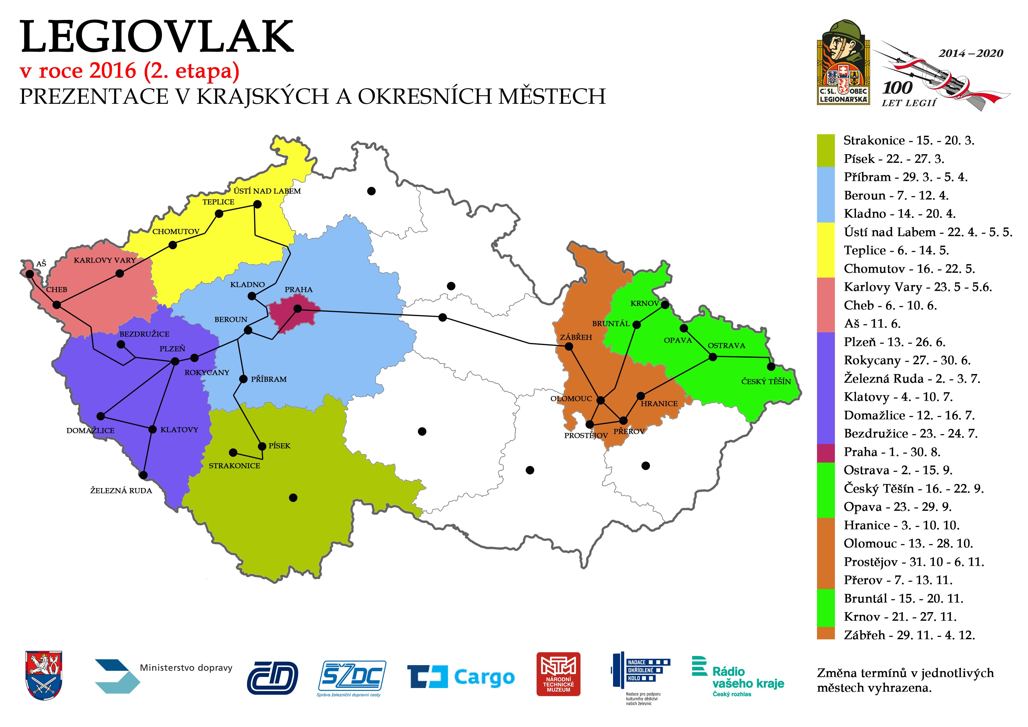 Mapa - Legiovlak 2016