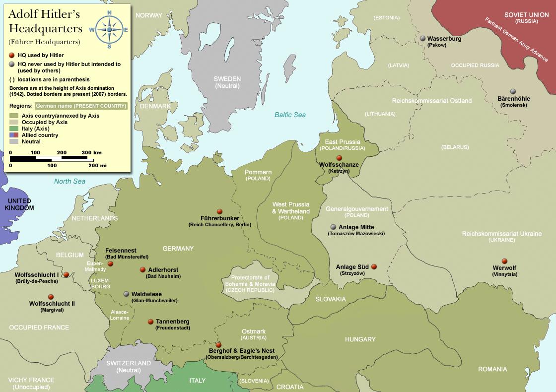 Mapa: Hitlerovy bunkry a úkryty v Evropě