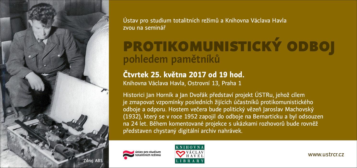 Pozvánka na seminář Protikomunistický odboj pohledem pamětníků
