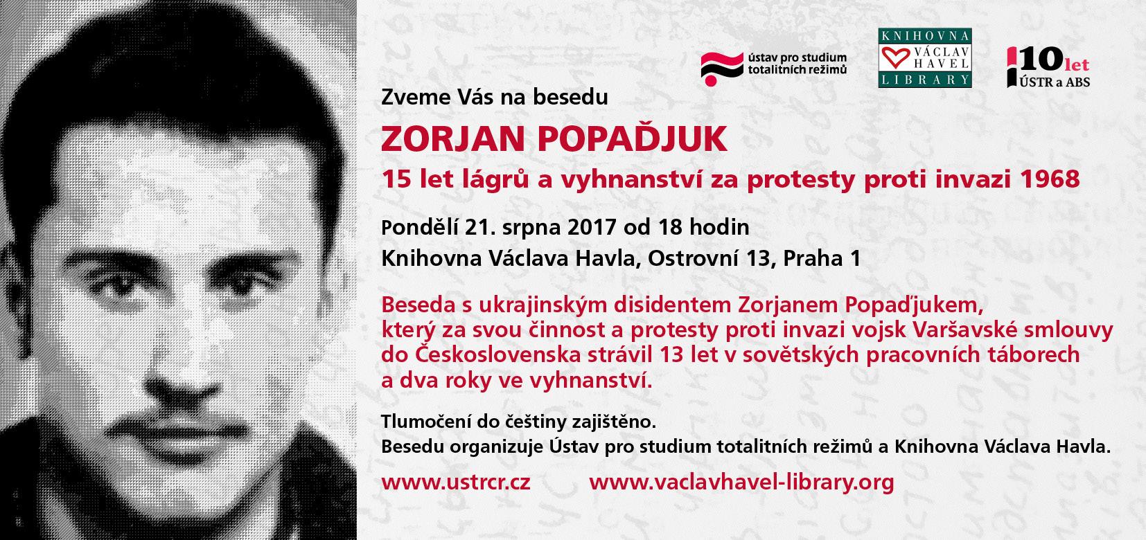 Pozvánka na besedu se Zoranem Popaďjukem