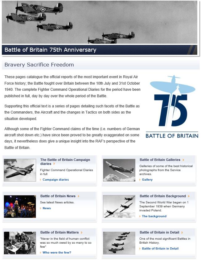 Bitva o Británii na webu RAF