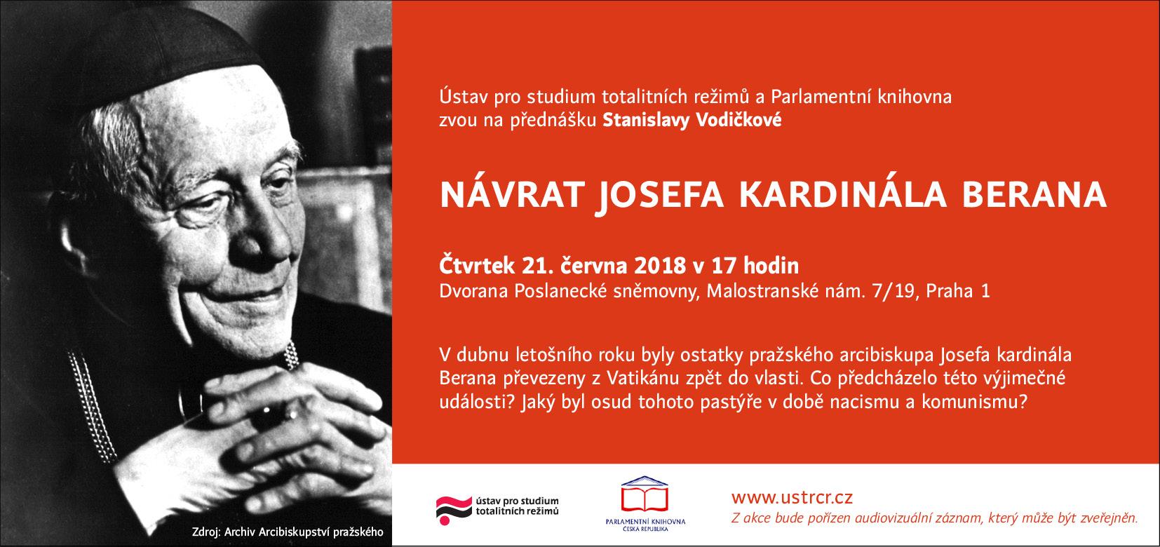 pozvánka přednáška Návrat Josefa kardinála Berana