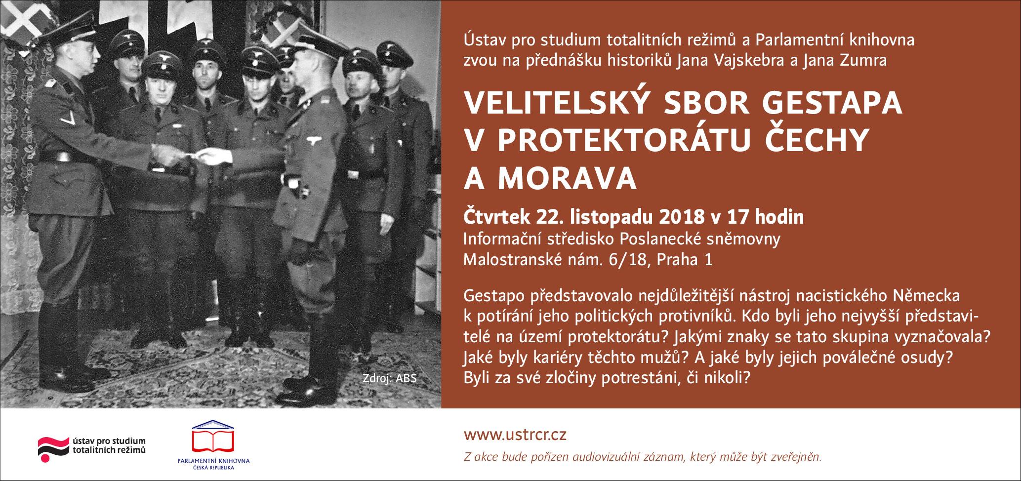 Přednáška: Velitelský sbor gestapa v protektorátu Čechy a Morava